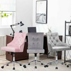 Swivel Velvet Accent Chair Mid Back Computer Task Chairs Home Office Desk Seat