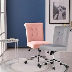 Velvet Accent Chair Swivel Home Office Armless Task Chairs Tufted W/pull Ring