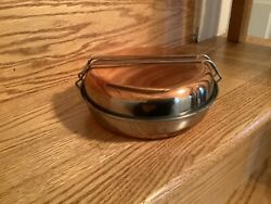 Vintage Copper And Stainless Steel Mess Kit With Bail Handle Pot And Lid