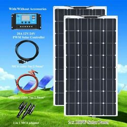 200w Flexible Solar Photovoltaic Panel Kit Boat Home Car Roof Battery Charger