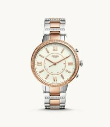 Fossil Women Virginia Stainless Steel Hybrid Smartwatch FTW5011 Two Tone Rose $75.00