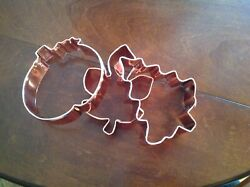 Heavy Guage Copper Cookie/biscuit Cutter Set Of 3 -christmas Tree,pumpkin,leaf