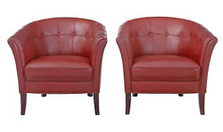 Pair Of Mid 20th Century Scandinavian Leather Club Armchairs
