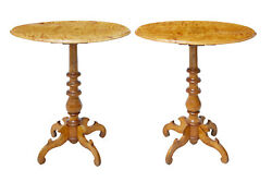 Late 19th Century Pair Of Swedish Birch Occasional Tables