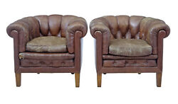 Pair Of Early 20th Century Leather Lounge Armchairs