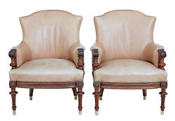 Pair Of Late 19th Century Carved Walnut And Leather Armchairs