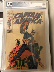 Captain America 111 Pgx 7.0 Off-white Pages Death Of Steve Rogers 1969