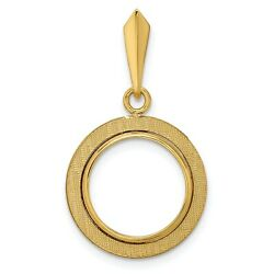 14k Yellow Gold Textured Coin Bezel Pendant Prong Mounting - For Various Coins