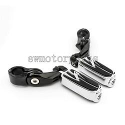 Motorcycle Foot Pegs Rest Pedal Clamps For Harley Davidson Road Electra Glide Us