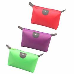3PCS Small Cosmetic Bag for Purse Waterproof Travel 3PCS Solid Color Style F $7.43