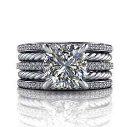 Round Cut 1.40 Ct Real Diamond Solid 18k White Gold Wedding Rings Set Size 6 7 8
