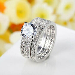 Excellent Cut 2.60 Ct Real Diamond Engagement Rings Set 18k White Gold Size 5 6