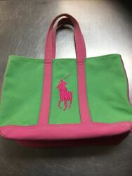 Ralph Lauren POLO Canvas Green amp; Pink Big Pony Tote School Preppy Beach Gym Bag $20.00