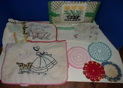 Vintage Odd Lot Kitchen Textiles Towels Pot Holder Toaster Cover Dish Rags And Mor