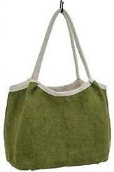 NEW LG 22quot; JUTE TOTE Shoulder Purse STRONG GROCERY SHOPPING BAG Hobo Green $24.00
