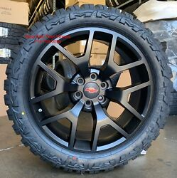 22andrdquo Gmc Sierra 1500 Satin Black Wheels Chevy Silverado Mt Mud Terrain Tires Rims