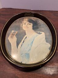 Vintage Coca Cola Metal Tray-girl In Blue Dress,15x 12oval Serving Tray