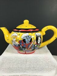 Catzilla By Candace Reiter Chef Cats Teapot With Lid 2002 Yellow Collectible