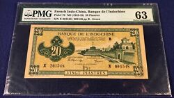 French Indochina 20 Piastres 1942 Pick 70 Yellow Green Very Rare In Unc Cond