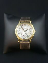 Betsey Johnson Round Mother Of Pearl Face Brown Leather Band Gold-tone Watch