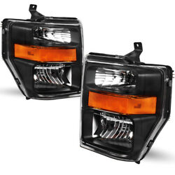 For 2008-2010 Ford F250/f350/f450 Sd Super Duty Pickup Black Headlights Lamps