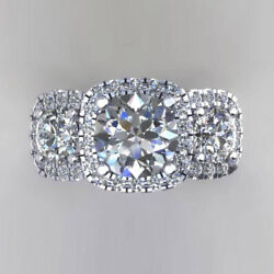 Round Cut Real Diamond 1.50 Ct 950 Platinum Engagement For Womenand039s Ring 6.5 7 8