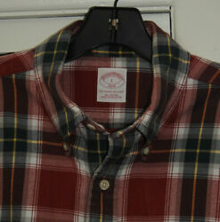 Brooks Brothers 346 Classic Fit Red Cotton Flannel L/s Sz L 48 Chest