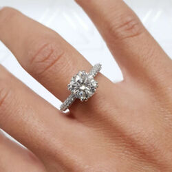 Round Cut 1.20 Ct Real Diamond 950 Platinum Engagement For Bridal Rings Size 4 5