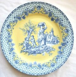 Formalities by Baum Bros Blue Yellow Decorative Plate Old Fashioned Women Child