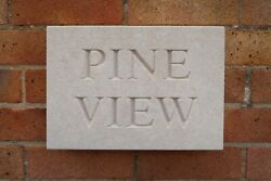 House Sign Natural Bath Stone Handmade Traditional Chisel Carved
