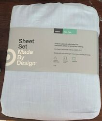 Made By Design Solid Queen Easy Care Sheet Set Light Blue