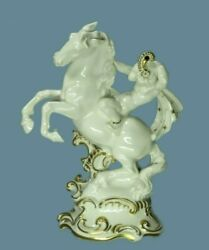 Antique Hutschenreuther Figurine Germany Porcelain White Horse And Child Art Deco