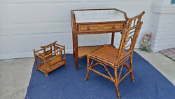 Vintage Pagoda Faux Bamboo 3 Piece Desk Set Tortoise Shell Finish Marble Top