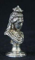 Antique Solid Silver Wax Seal Stamp Buste Queen Victoria Initial / Letter E