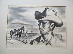 Jerry Bywaters Ranch Hand Pony Lithograph Aaa Signed Limited Wpa Cowboy Horse