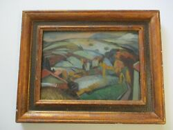 Masterful Oil Painting Antique Mystery Expressionist Landscape Modernist Signed