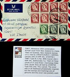 New Zealand 1954 Rare A/m Combination Cover To Lhassa Tibet China Read Ex. Flack