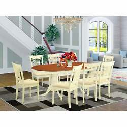 9-piece Dining Room Set Includes Oval Table And 8 Kitchen Wood Seat Plai9-whi-w