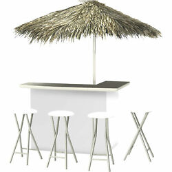 Solid White Deluxe Portable Bar- Thatched Umbrella And 4 Stools