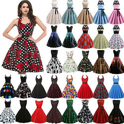 Ladies Vintage 50s Rockabilly Swing Dress Evening Party Cocktail Pinup Ball Gown