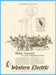 1926 Western Electric Candlestick Phone Telephone Relay Race Runners Art Ad