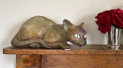Life Size Vintage Lladro Gres Prowling Siamese Crouching Cat Mid Century