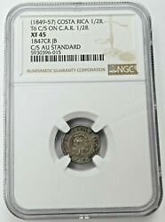1849-57 Costa Rica 1/2 Real Counter Stamped On Car 1/2 Real Ngc Xf45 - B