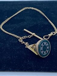 8k Yellow Gold Pocket Watch Fob And Chain W/ Masonic Sun Dial Antique 11 Inch