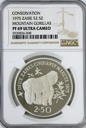 Zaire. Wildlife Conservation. Proof 2 1/2 Zaires 1975. Mountain Gorilla Ngc Pf69