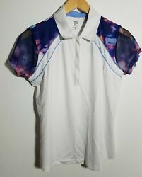 1 Nwt Ep New York Women's Polo, Size Medium, Color White/navy/pink J247