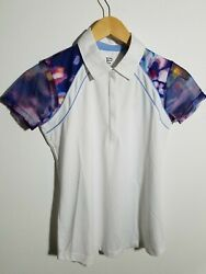 1 Nwt Ep New York Women's Polo, Size X-small, Color White/navy/pink J247