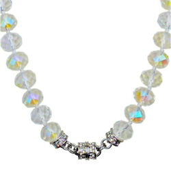 Kirks Folly Super Crystal 14mm Beaded Magnetic Necklace Silvertone / Crystal Ab