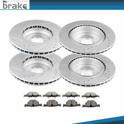 For Bmw 335i 2/2007 - 2010 Rwd Front + Rear Brake Rotors Ceramic Pads Drill Slot