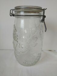 Wheaton 1.5 L Jar Canister Fruit Embossed Clear Glass Hinged With Lid 8.5